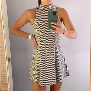 Black and White zig-zag striped dress